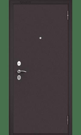 Стальная дверь START (Букле шоколад/Ларче бьянко с зеркалом)