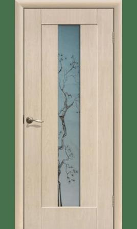 Межкомнатная дверь Японская вишня ДО (Беленый дуб)
