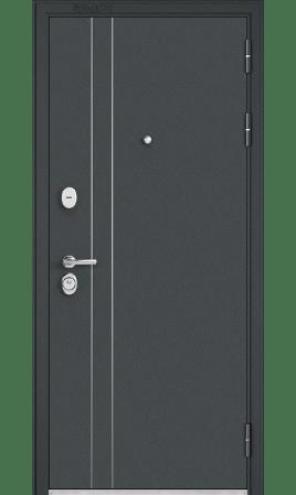 Дверь стальная Standart 90 (Черный шелк/Дуб серый матовый)