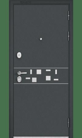 Дверь стальная Standart 90 Mirror (Черный шелк/Дуб графит)