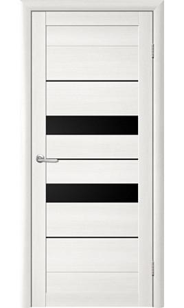 Межкомнатная дверь Trend Doors T-4 (Лиственница белая с черным стеклом)