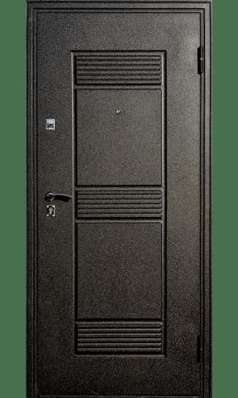 Дверь стальная Оптима Зеркало (Черный шелк/Беленый дуб)